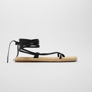 Zara jute tie up sandals